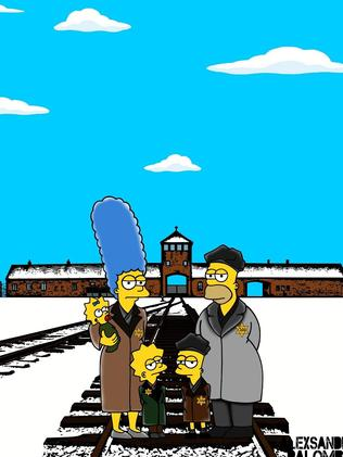 The Simpsons drawn outside Auschwitz. Picture: aleXsandro Palombo