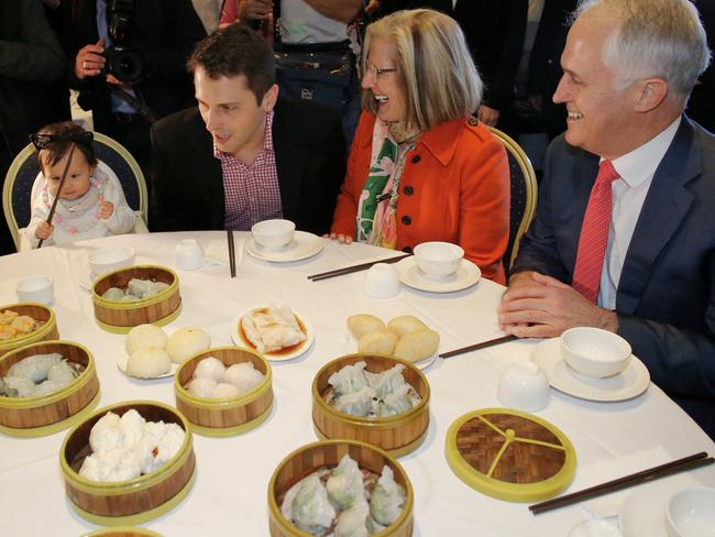 Prime Minister Malcolm Turnbull and wife Lucy Turnbull enjoy lunch with their son Alex and granddaughter Isla at the Sunny Harbour Yum Cha restaurant in 2016. Picture: Andrew Meares