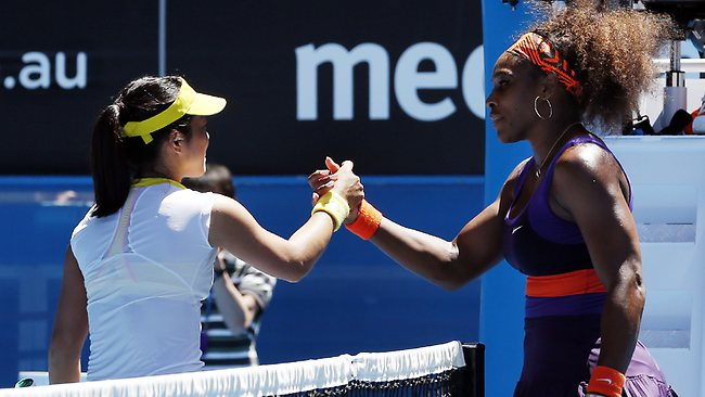 Serena Williams of the US, right, is congratulated by Japan's Ayumi Morita after Williams won their third round match at the Australian Open.