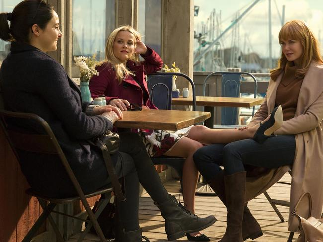 Shailene Woodley (Jane Chapman), Reese Witherspoon (Madeline Mackenzie) and Nicole Kidman (Celeste Wright) in Big Little Lies. Picture: Supplied