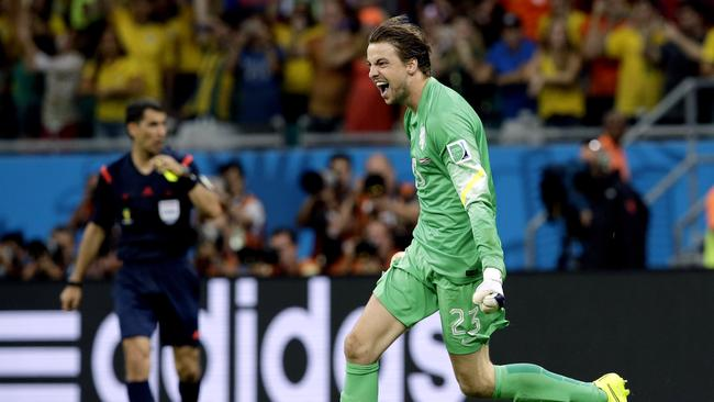Netherlands' goalkeeper Tim Krul celebrates after saving his second penalty kick.
