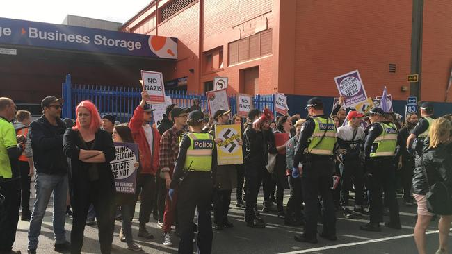 Police with protesters and supporters outside a Kensington Venue where alt-right commentator Milo Yiannopoulos will speak