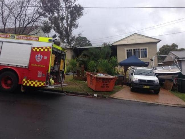 Fire and Rescue NSW was called to the scene because of the number of precursor chemicals Police found at the family home in Arndell Park. Picture: Twitter