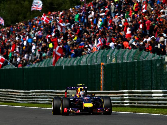 Ricciardo on his way to victory in Spa, Belgium.