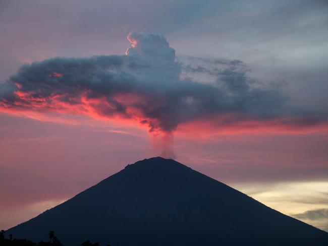 The eruption of Mount Agung caused chaos for travellers to and from Bali. Picture: AFP / Juni Kriswanto