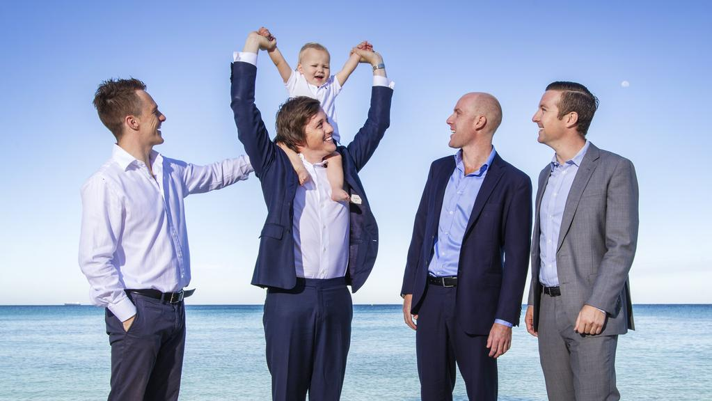 Friends Jimmy Habershon, Tony Hager, Humphrey Hager, 19 months, Colin Gilchrist and Alistair Smith will tackle the Rottnest Channel Swim to raise money for the Breast Cancer Network of Australia.