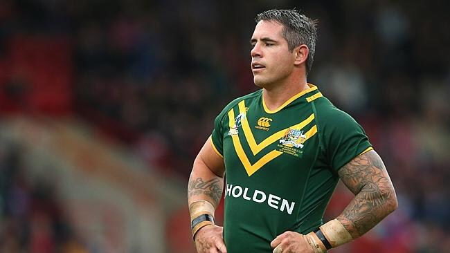 Corey Parker of Australia looks on during the Rugby League World Cup Quarter Final match between Australia and USA at Racecou...