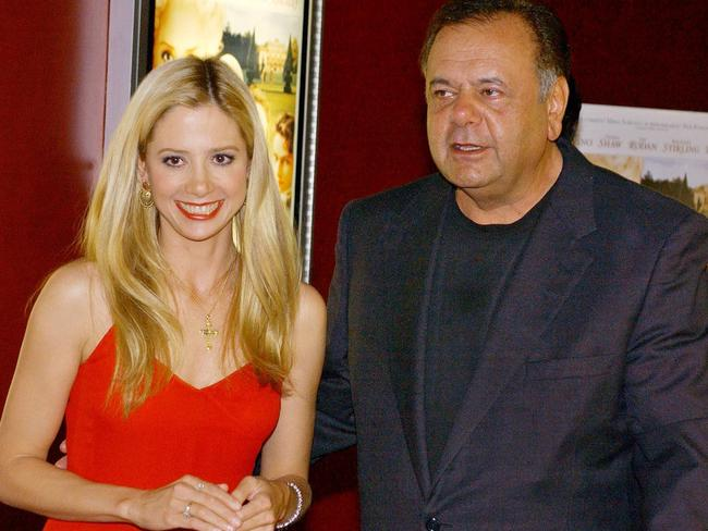 Mira Sorvino and her father, actor Paul Sorvino, in 2002