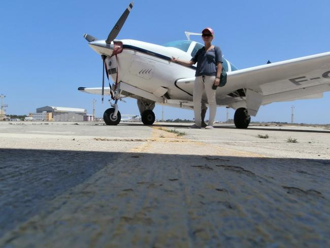 In Malta, hitching a ride with a plane.