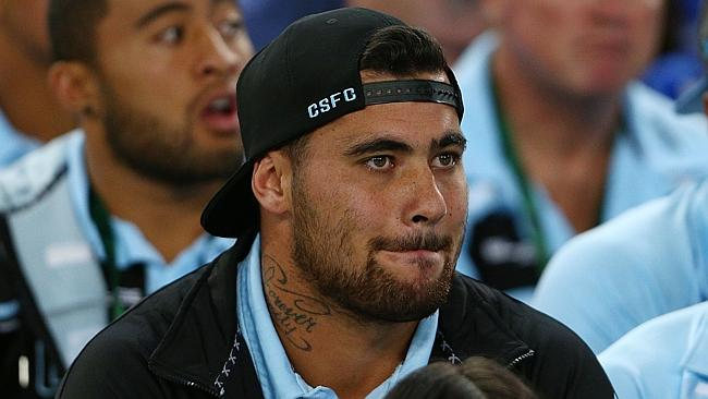 Suspended Andrew Fifita watches the round two NRL match between the Canterbury Bulldogs and the Cronulla Sharks at ANZ Stadium.