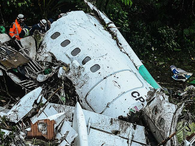 The crash site of LAMIA airlines charter that went down in the mountains of Cerro Gordo, Colombia. Picture: AFP/STR/RAUL ARBOLEDA