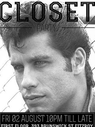A-list ... John Travolta on a poster. Pic: Closet Party/Facebook.