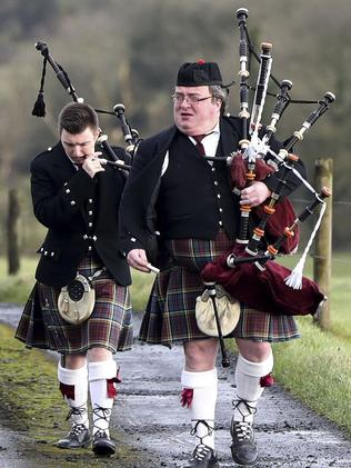 Pipers arrive ahead of Dolores O'Riordan's funeral. Picture: Niall Carson/PA via AP