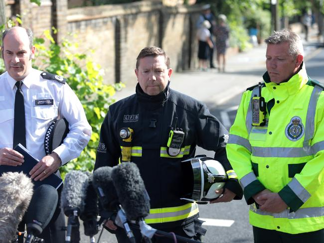 Commander Stuart Cundy of Met Police, Steve Apter of London Fire Brigade at a press conference near the 24 storey residential Grenfell Tower. Picture: Getty