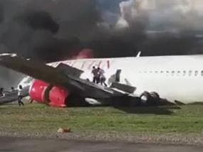 Peru plane crash leaves trail of fire