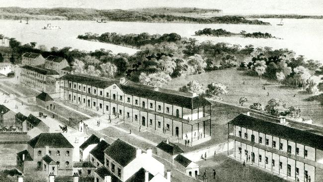 This 1850s sketch shows The Rum Hospital ... officially called the Sydney Infirmary it was later known as the Sydney Hospital. Pictured is the original centre wing (later demolished) along with the north wing, now State Parliament, and the south wing, now the Sydney Mint building. Picture: Sydney Hospital.