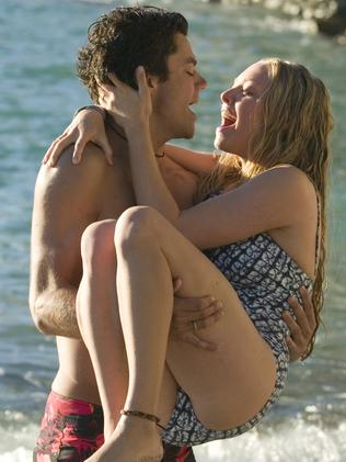 Dominic Cooper and Amanda Seyfried, seen here in Mamma Mia, dated from 2007-2010. Picture: Supplied.