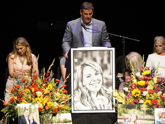 Michael speaks at his wife's funeral on the campus of the University of New Mexico Picture: Adolphe Pierre-Louis/The Albuquerque Journal