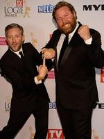 Stephen Curry and Shane Jacobson during the Red Carpet Arrivals ahead of the 56th TV Week Logie Awards 2014 held at Crown Casino on Sunday, April 27, 2014 in Melbourne, Australia. Picture: Jason Edwards