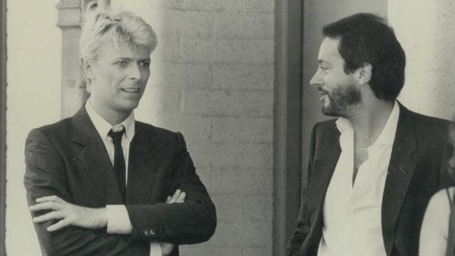 Stadium time ... David Bowie with Australian promoter Paul Dainty on the 1983 Serious Moonlight tour.