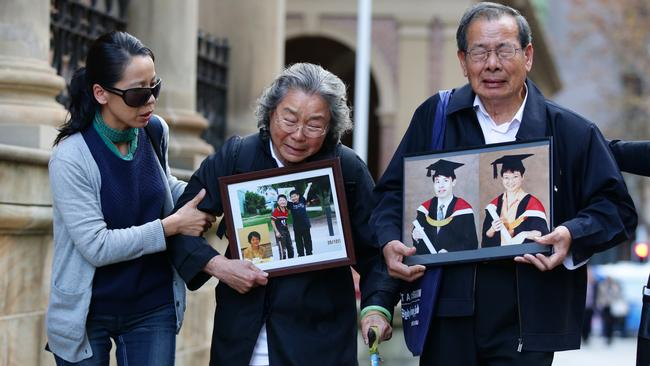 Distraught Lin family members leave the Supreme Court in June after an earlier hearing into the 2009 murders of the Lin family in Epping. Picture Cameron Richardson