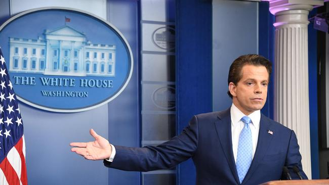 Anthony Scaramucci, former White House communications director, during a press briefing at the White House in Washington, DC in July 2017. Picture: AFP / Jim Watson.