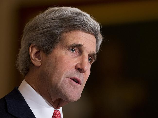 """In the left corner ... Secretary of State John Kerry has warned Russia against a military intervention in Ukraine, saying such a move would be a """"grave mistake"""". Picture: AP / Manuel Balce Ceneta"""