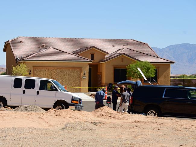Members of the media gather in front of the home mass murderer Stephen Paddock in Mesquite, Nevada. Picture: AFP