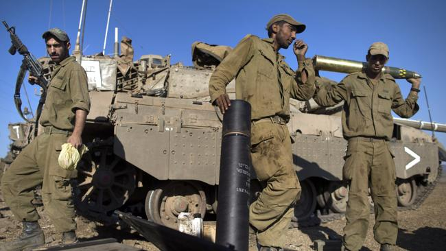 Israeli troops participate in a military exercise near the Syrian border on August 28. Picture: Getty Images