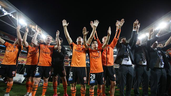 Brisbane Roar celebrate winning the A-League Elimination Final.