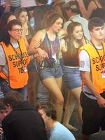 <p>A couple of Schoolies get a helping hand from the support team. Picture: Marc Robertson</p>