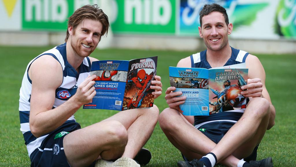 Geelong Cats footballers Tom Lonergan and Harry Taylor. Picture: Peter Ristevski