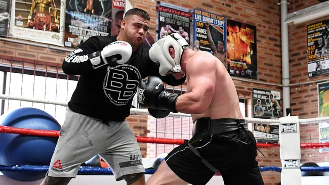 Paul Gallen sparring with Tai Tuivasa last week. Picture: Grant Trouville