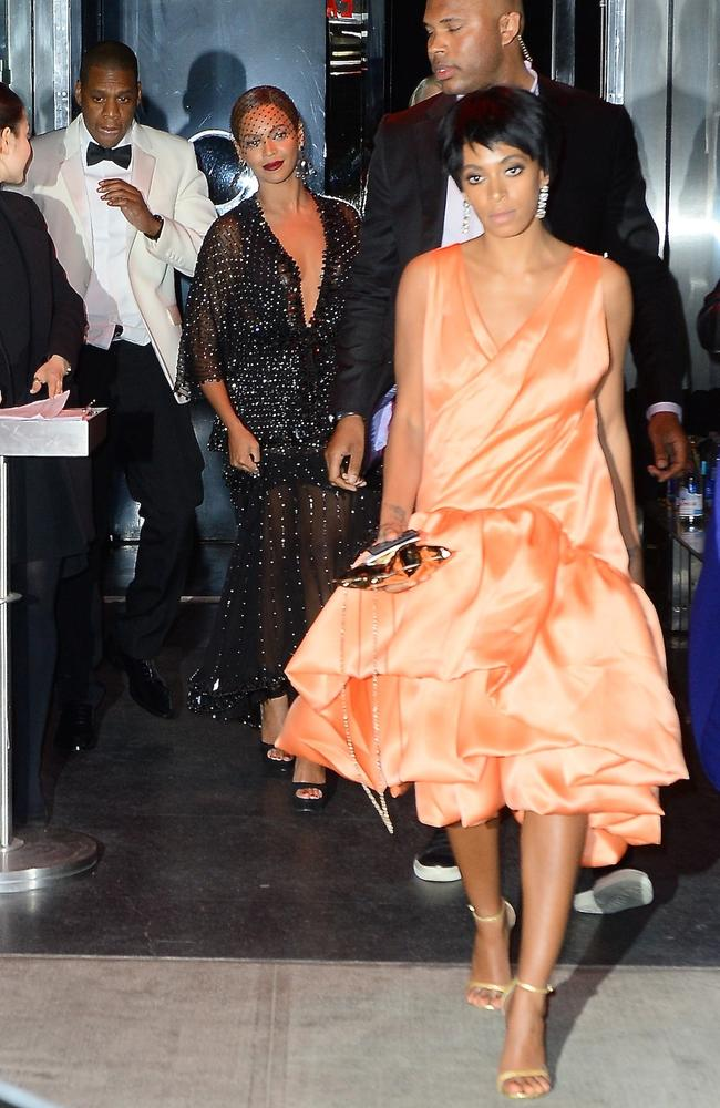 The aftermath of Beyonce, Jay-Z and Solange's fight inside a lift at the Met Gala's after-party, at the Boom Boom Room. Picture: Splash