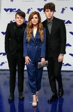 Graham Sierota, Sydney Sierota and Noah Sierota of Echosmith attend the 2017 MTV Video Music Awards at The Forum on August 27, 2017 in Inglewood, California. Picture: AFP