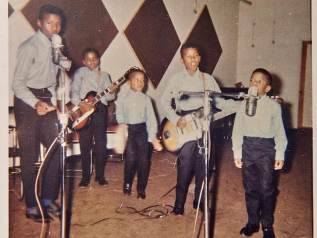 The Jackson 5 recording their first ever single.