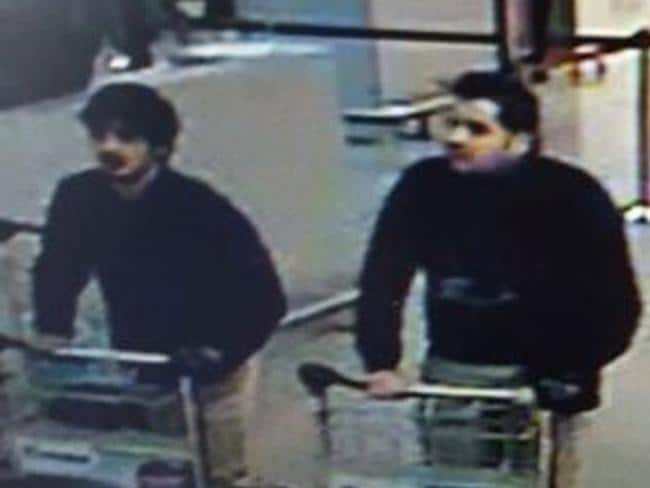 Two suspected suicide bombers both appear to be wearing a glove on their left hands only. Some speculate this may have been used to disguise a detonation device. Picture: Belgian Federal Police via AP
