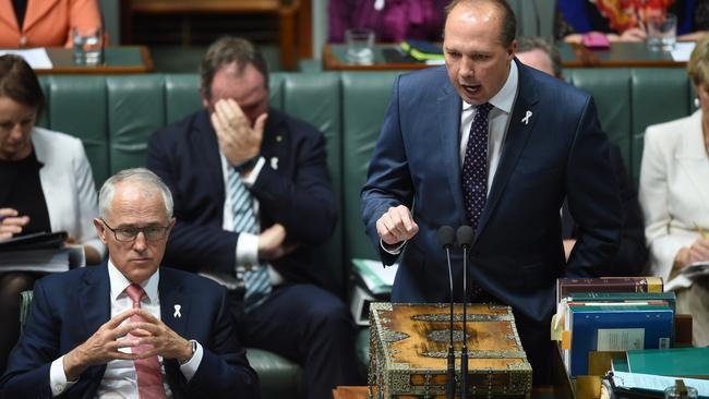 Immigration Minister Peter Dutton is standing by his comments on immigration in the Fraser era. Picture: AAP Image/Lukas Coch