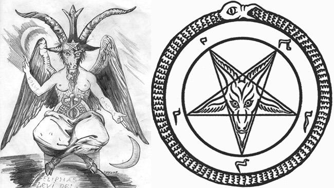 "Images depict the figure of Baphomet - a symbolic ""demon"" associated with the Satanic movement."