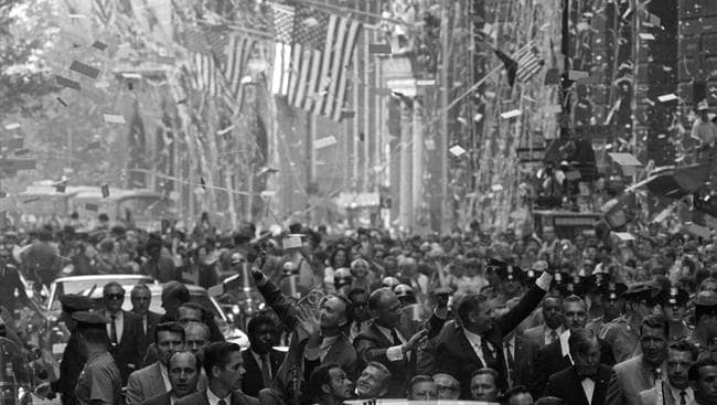 Adams also captured other historic moments — such as this scene where Apollo 11 astronauts were welcomed in New York. Picture: AP Photo/Eddie Adams, file