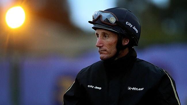 Jockey Damien Oliver during trackwork at Caulfield. Picture: Colleen Petch