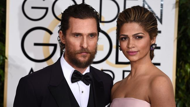 Perfect pair ... a bearded Matthew McConaughey with Camila Alves. Picture: AP