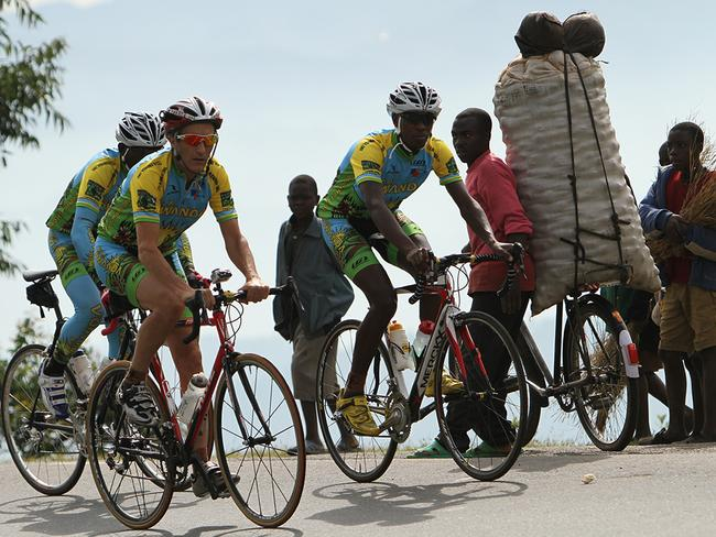 A scene from the documentary  <i>Rising From Ashes</i>, about the Rwandan cycling team.