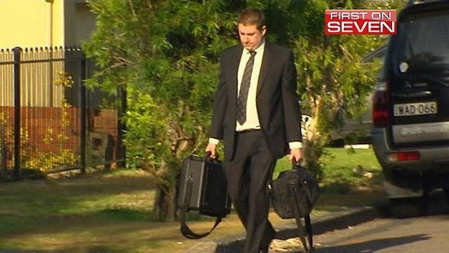 Fraud squad detectives raid MP Craig Thomson's house. Picture: Channel 7