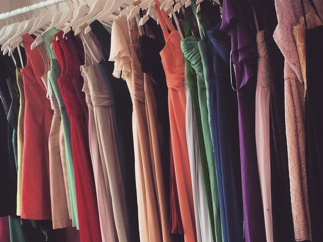 Just some of Jen's bridesmaid dresses. Picture: Jen Glantz.