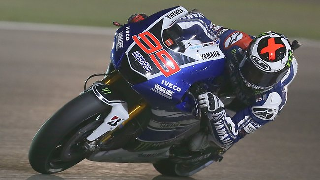 Jorge Lorenzo of Spain drives his Yamaha during the qualifying practice session of the Qatar Grand Prix at the Losail International Circuit in Doha. Picture: Karim Jaafar