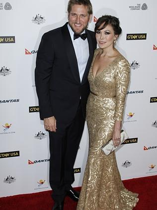Celebrity chef Curtis Stone, pictured here with his stylish wife Lindsay Price, was also honoured for promoting Australian food and wine.