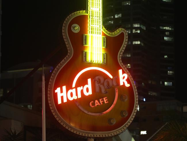 Even the neon lights of the Hard Rock fail to light up.