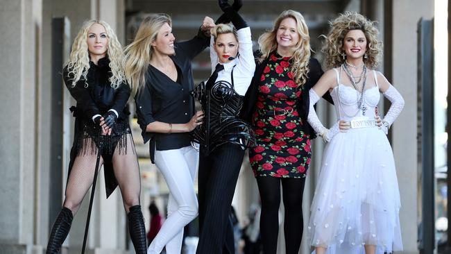 Madonna, Kate Brown, Madonna, Hayley Loader and Madonna in the streets of Sydney.