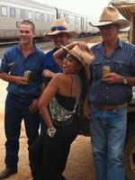 Jessica Mauboy meets jackaroo fans at Rawlinna, WA, on the Indian Pacific's annual Outback Christmas train from Sydney to Perth. Picture: Moran Jonathon